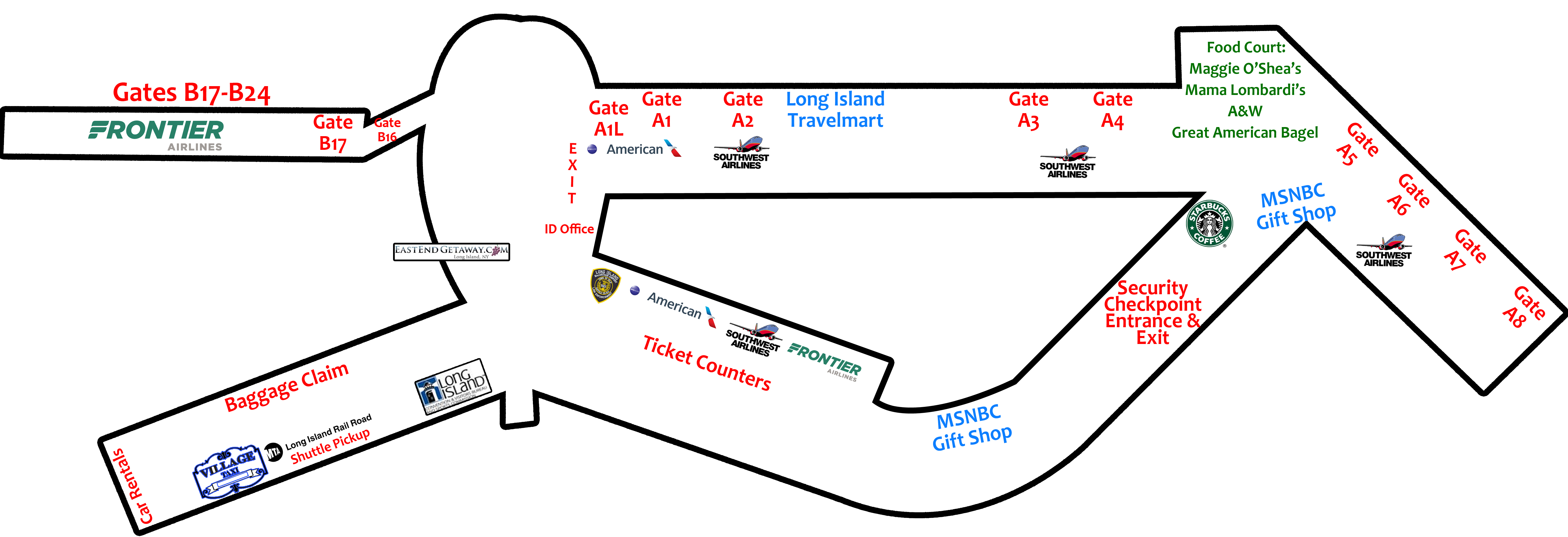 This Image Is a Map of the Airport Terminal With Landmarks Noted
